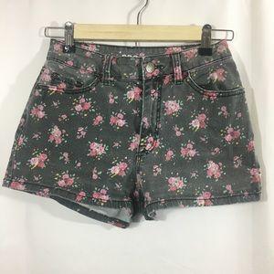 BDG Black Floral Rose Faded Shorts High Rise Erin